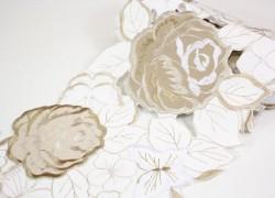 Obrus štóla (FQWT17059) RUŽE - hnedo-biely (20x160 cm) veľkosť 20x160 cm