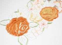 Obrus štóla (FQWT17059) RUŽE - zeleno-oranžový (20x160 cm) veľkosť 20x160 cm