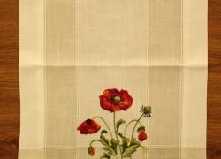 Obrus vyšívaný DM-9016 - DIVÝ MAK (40x135 cm) - červeno-biely veľkosť 40x135 cm