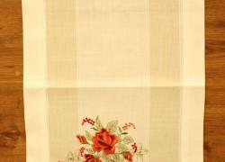 Obrus vyšívaný DM-1066 - RUŽE (40x135 cm) - červeno-biely veľkosť 40x135 cm